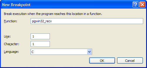 Adding a breakpoint dialog